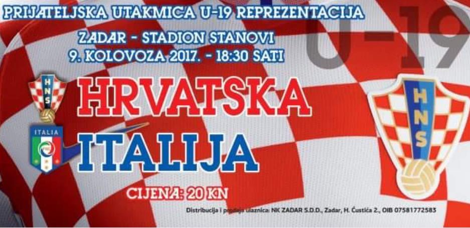 Nogometaši Hrvatske i Italije do 19 godina u srijedu na Stanovima!