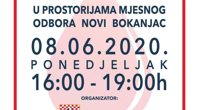 ŠD Novi Bokanjac u suradnji s HZSN Zadar i HU Antonio Jurjević organizira akciju dobrovoljnog darivanja krvi